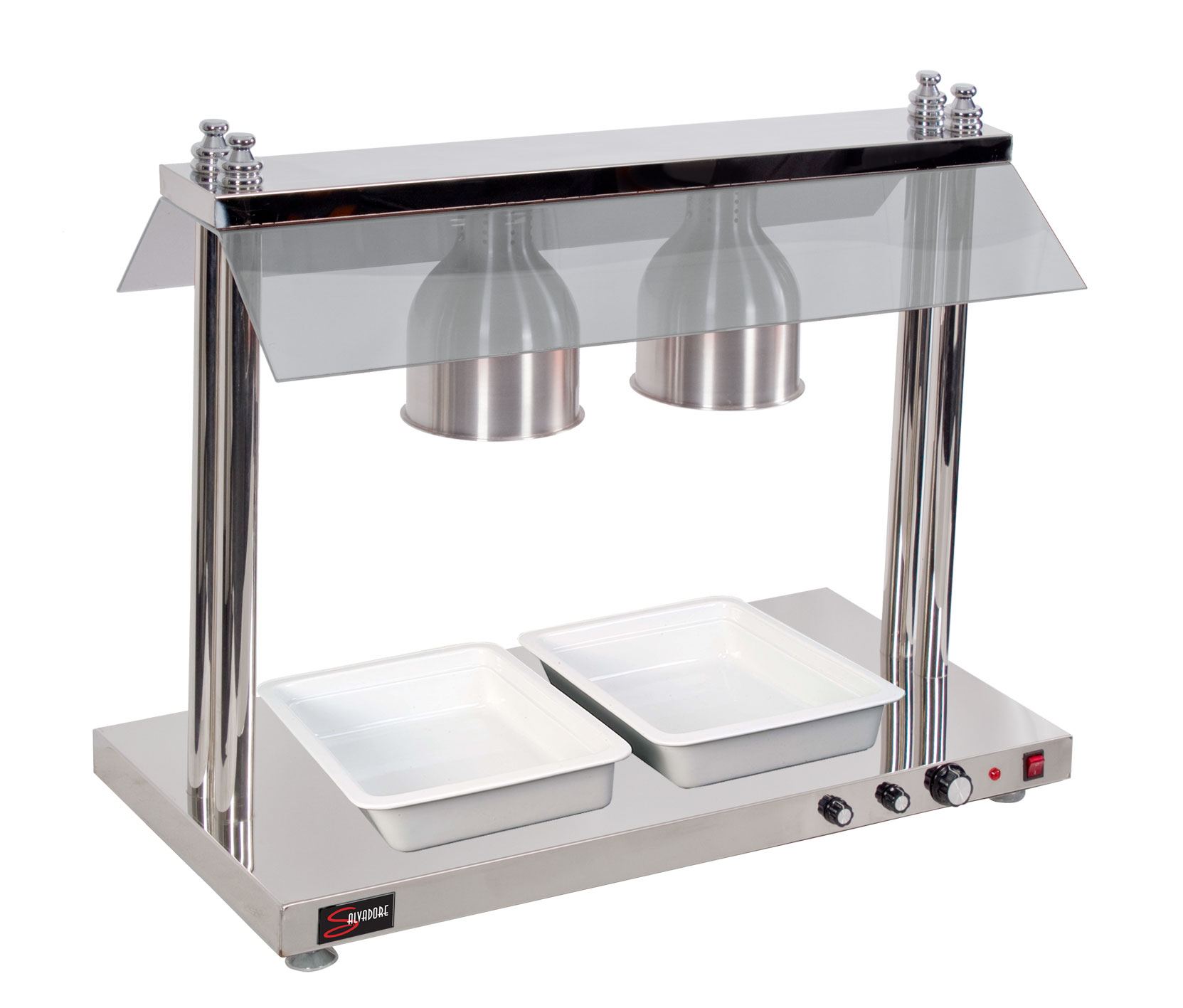 HEATED FOOD DISPLAY STATION SALVADORE - 2 LIGHT - WITH HEATED BASE