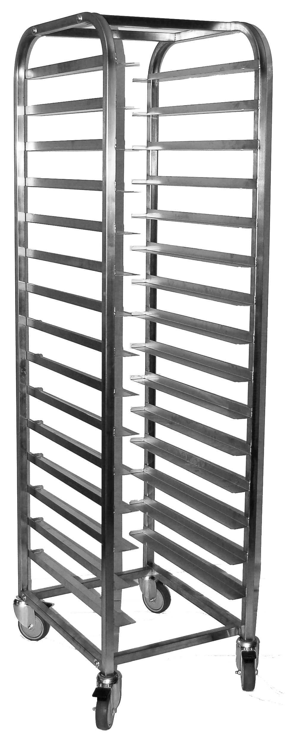 MOBILE TRAY TROLLEY S/STEEL - 15 SHELVES