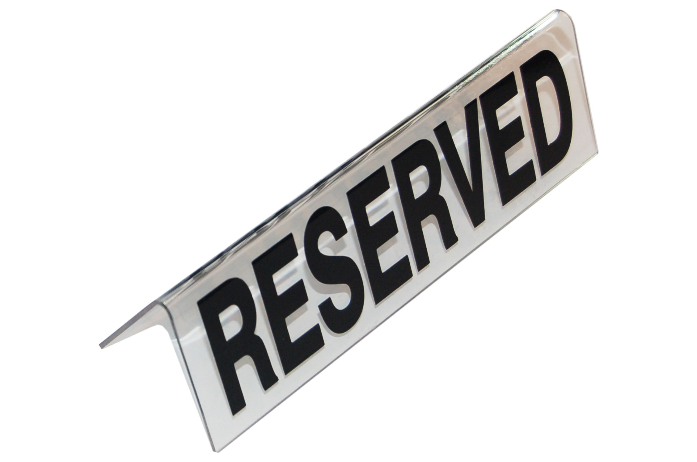 "RESERVED"" TABLE SIGN PLASTIC - (CLEAR)"