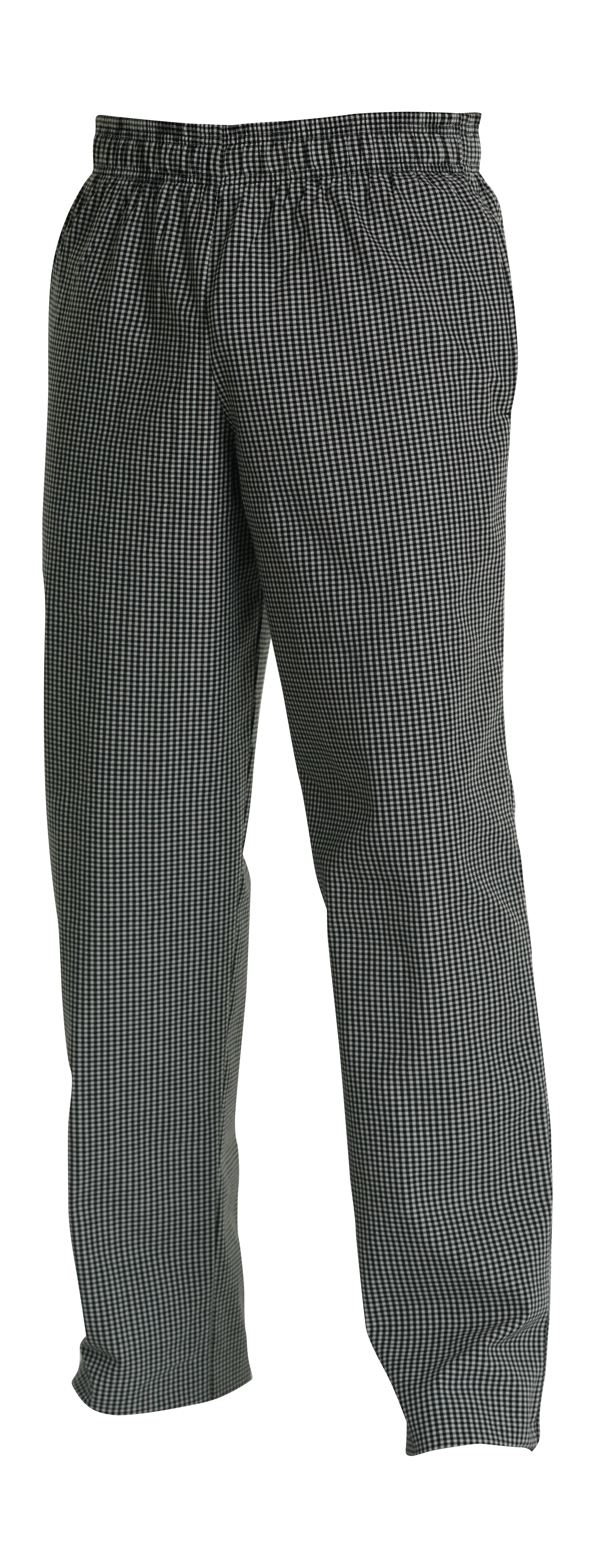CHEFS UNIFORM - BAGGIES BLACK/WHITE CHECK -X SMALL