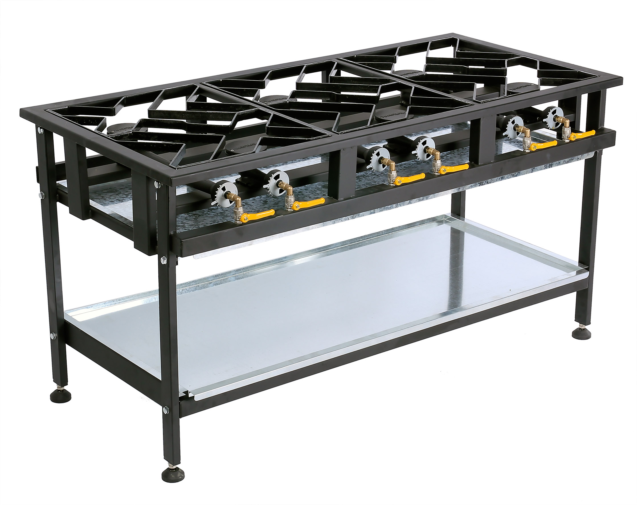 BOILING TABLE GAS - COMMERCIAL - 6 BURNER STAGGERED