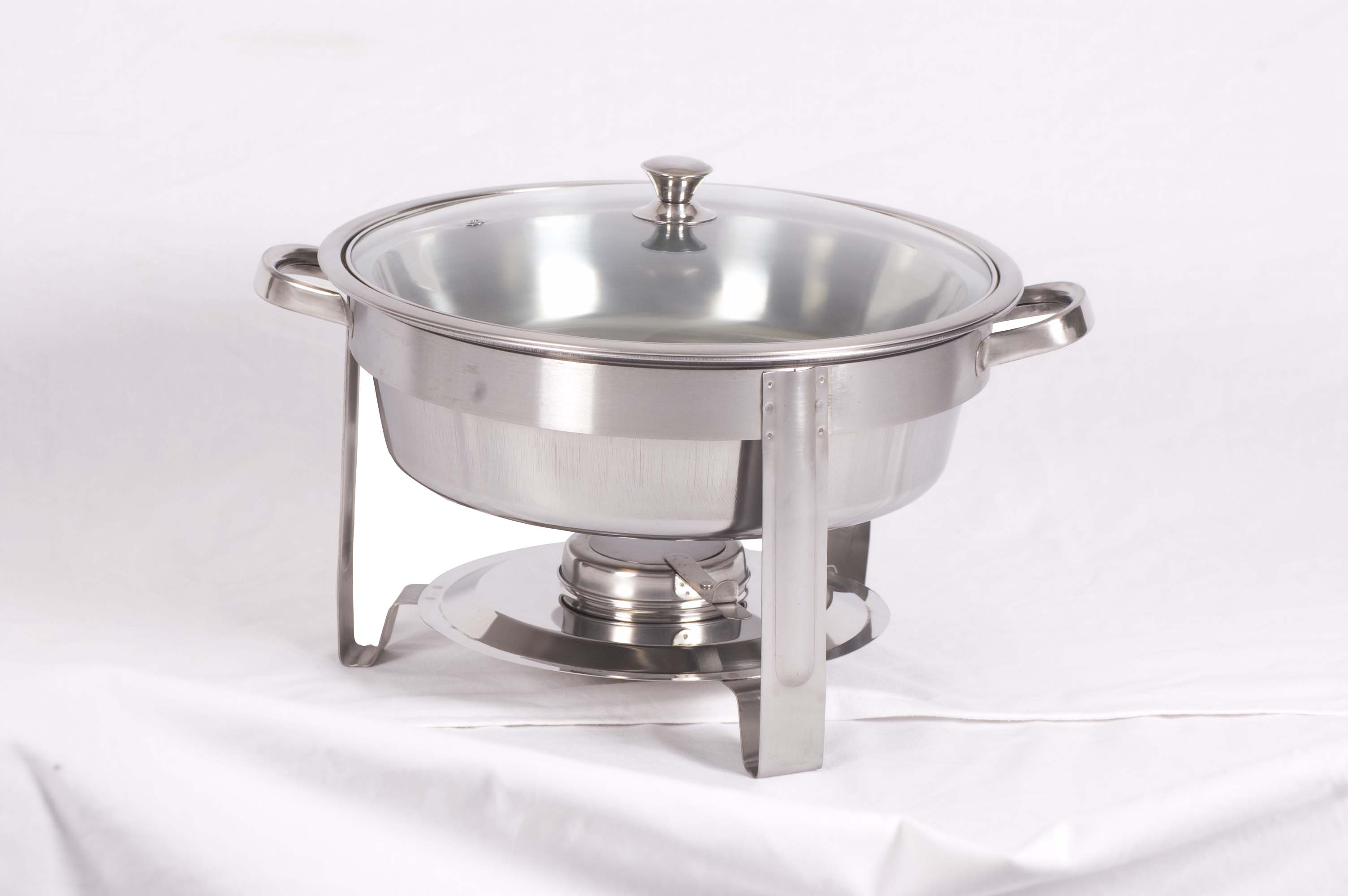 CHAFING DISH ROUND WITH GLASS LID - POLISHED 4Lt