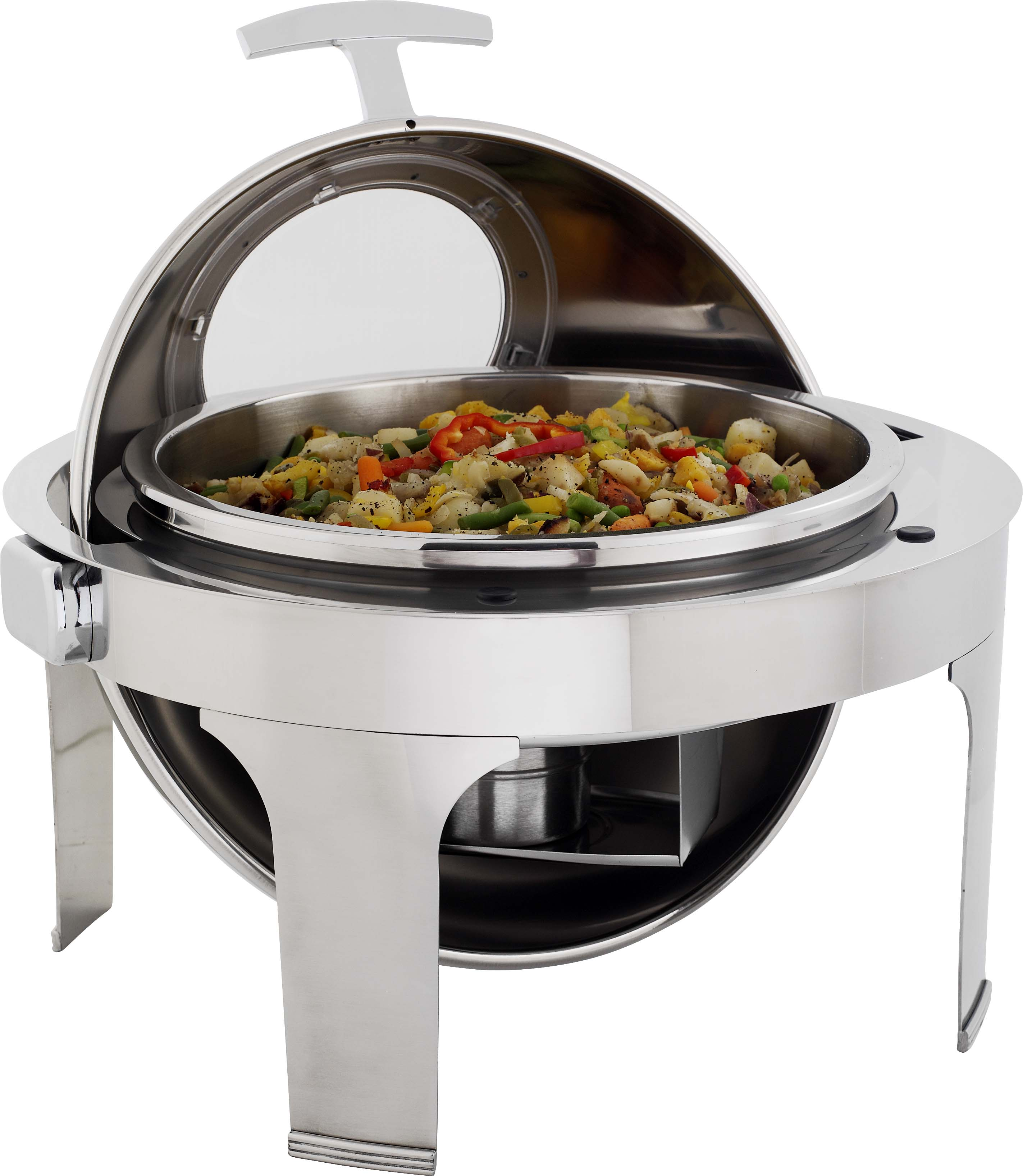 CHAFING DISH S/S - ROLL TOP ROUND WITH WINDOW 6.8Lt