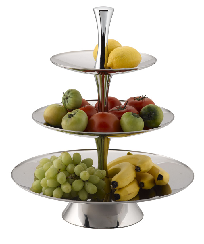 FRUIT STAND S/STEEL - 3-TIER 18/10 D375 x H530mm