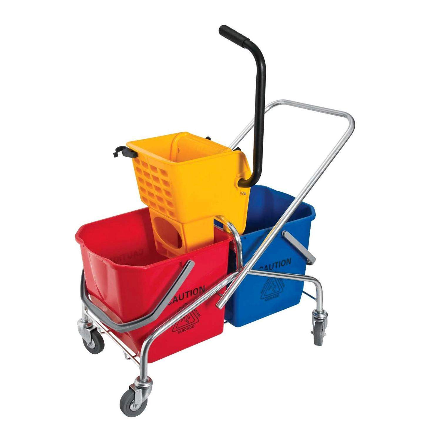 PLASTIC DOUBLE BUCKET AND WRINGER 2 x 25Lt (V FRAME)