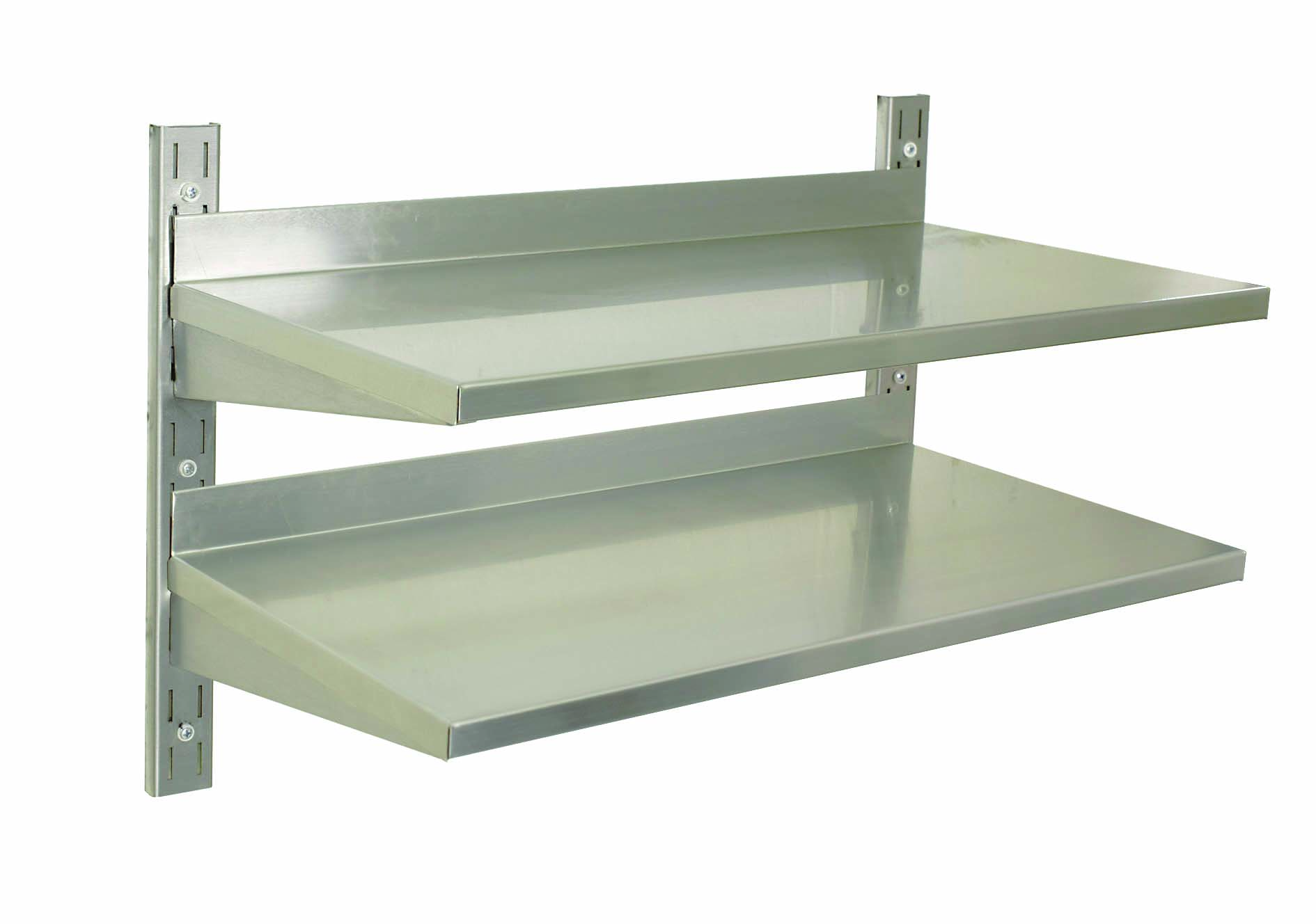 S/STEEL WALL SHELVING DOUBLE - 900 x 300mm