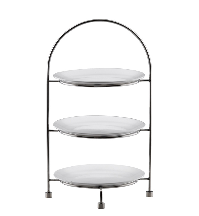 TEA CAKE STAND 3 TIER - 18/10 S/STEEL (27cm PLATES NOT INCLUDED) L256 x W256 x H421mm