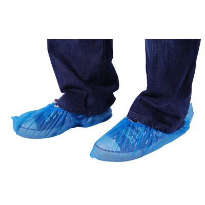DISPOSABLE PLASTIC SHOE COVERS - BLUE PACK OF 100