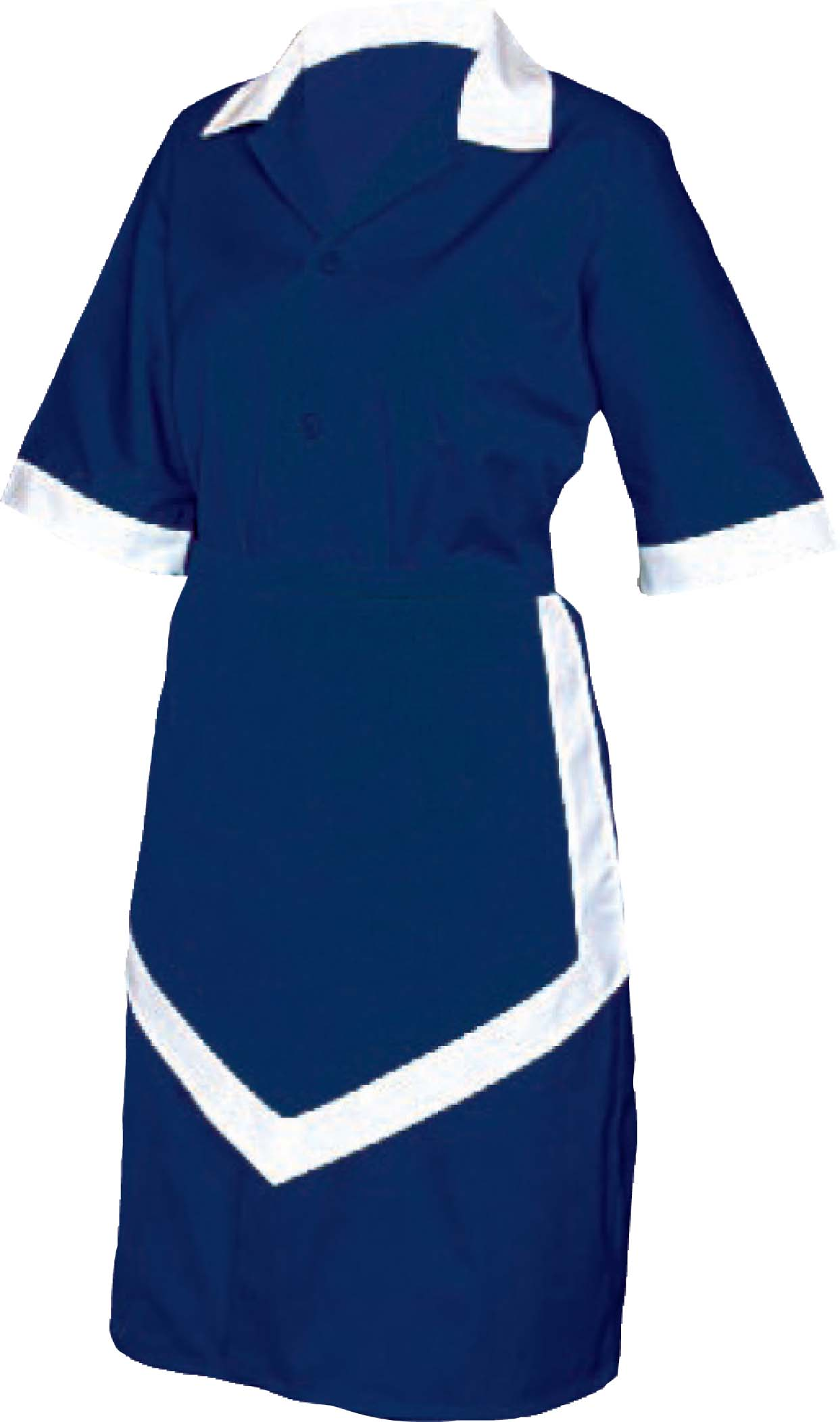 LADIES HOUSEKEEPING 3PC - NAVY AND WHITE - X SMALL