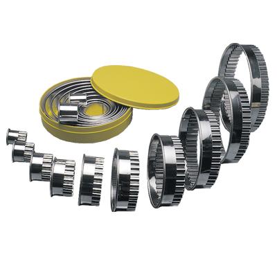 ROUND CUTTER SET S/STEEL -  PLAIN 10 PIECE