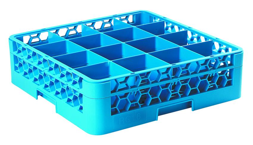 GLASS RACK EXTENDER 16 COMP (BLUE)