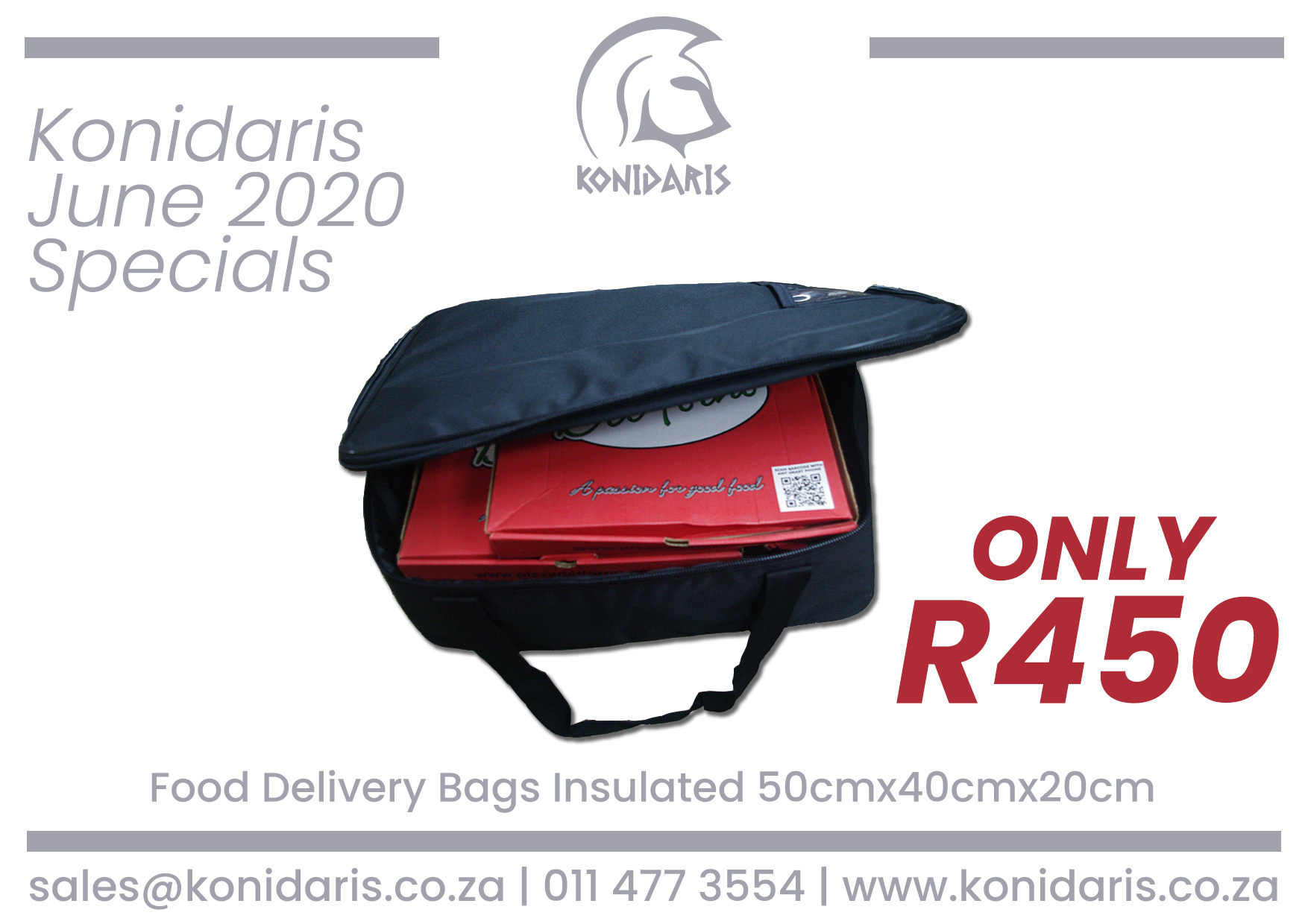 Food Delivery Bags Insulated ( 50cm x 40cm x 20cm)
